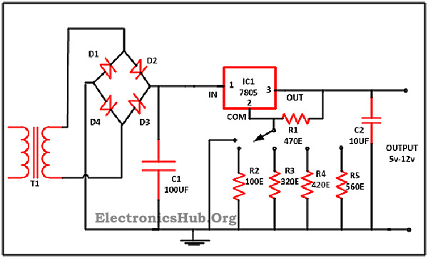 0 28v 6 8a power supply circuit using lm317 and 2n3055 rh electronicshub org lm317 regulator circuit diagram 7805 regulator circuit diagram