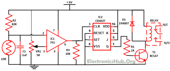 Of Wireless Switch Circuit Using CD4027 - Simple Wireless Relay Switch