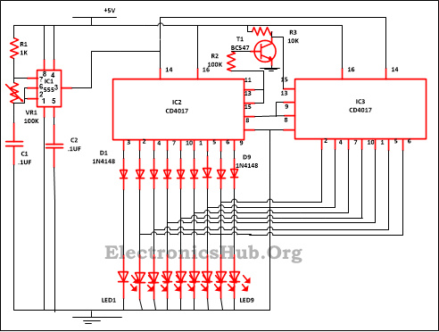 9 LED Knight Rider Circuit Diagram led knight rider circuit led running light led chaser circuit led circuit diagrams at gsmportal.co