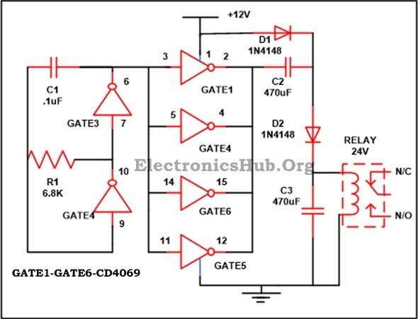 12V to 24V DC Converter Circuit using Hex Inverter IC CD4049Electronics Hub