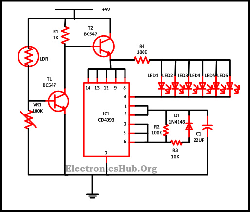 led christmas lights circuit diagram and working rh electronicshub org