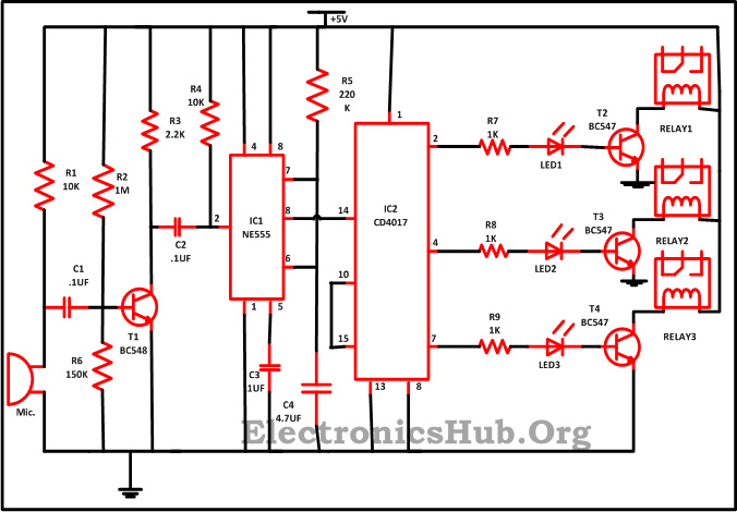 clap switch circuit for devices circuit working and applications rh electronicshub org clap switch circuit diagram using ic 555 clap switch circuit diagram using relay