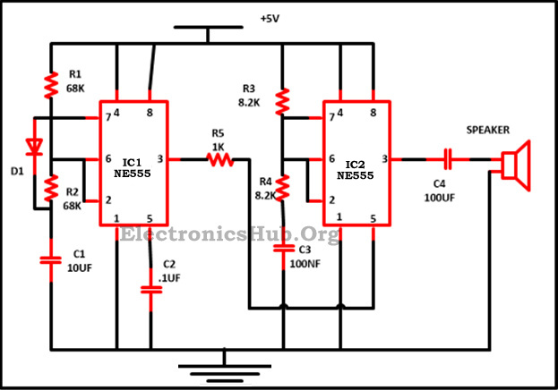 police siren circuit using ne555 timer ne555 timer ic pin diagram rh electronicshub org 555 ic circuit diagram circuit diagram 555