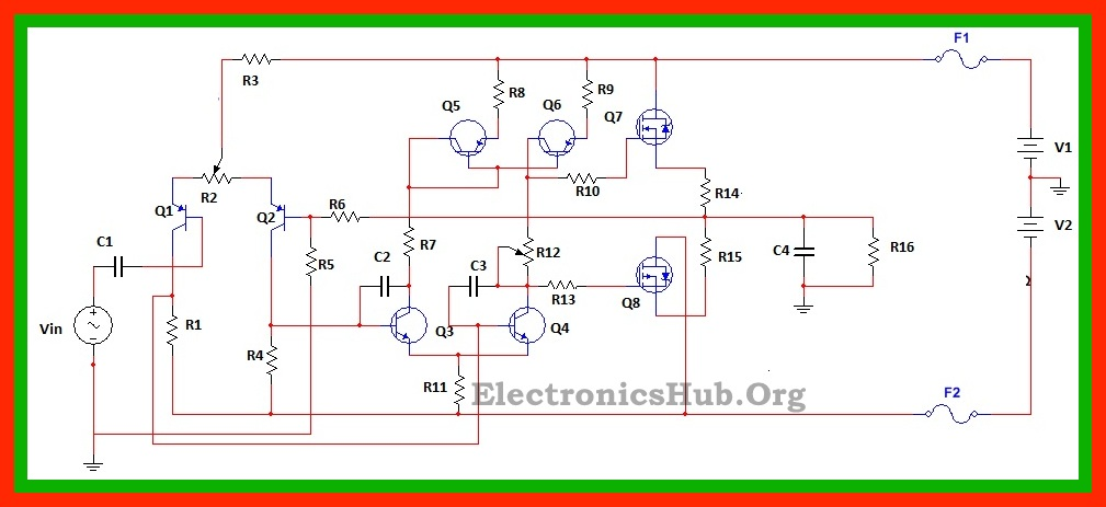 100watt Mosfet Power Amplifier Circuit Working And