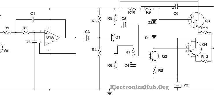 circuit diagram of 100w sub woofer amplifier
