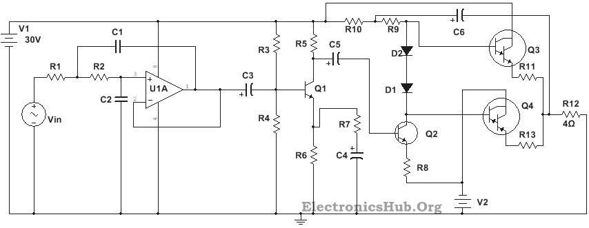 diagrama de circuito del amplificador de subwoofer de 100w