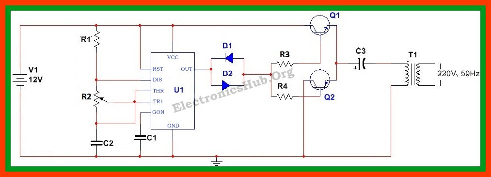 how to make 12v dc to 220v ac converter inverter circuit design rh electronicshub org Air Compressor 220V Wiring-Diagram 220v to 12v transformer wiring diagram