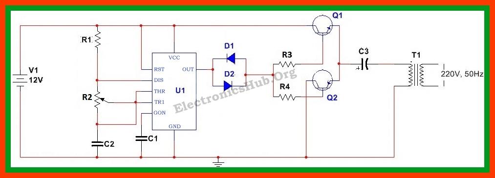 Diagrama de circuito del convertidor de 12v CC a 220v CA