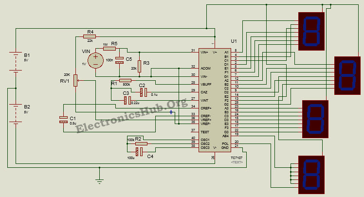 Circuit Diagram of Digital Voltmeter using ICL7107