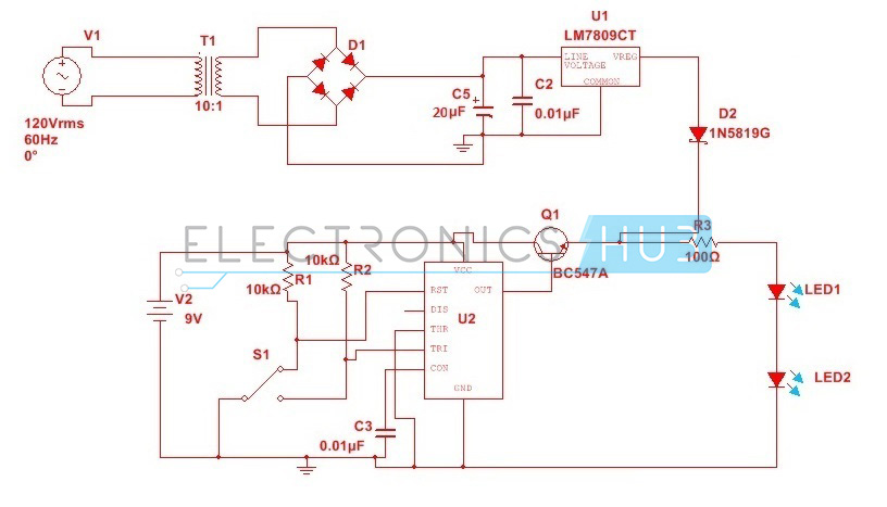 automatic changeover switch circuit using 555 timer rh electronicshub org