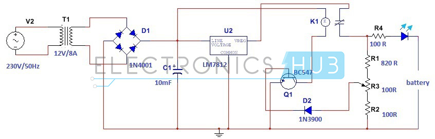 simple car battery charger and indicator circuit diagram rh electronicshub org  FM Transmitter Circuit Diagram