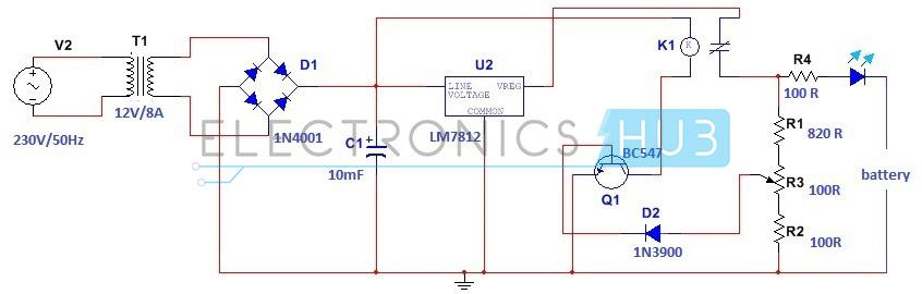 Diagrama del circuito del cargador de la batería del automóvil