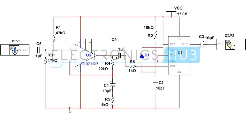 555 timer as an amplifier low power audio amplifier using 555 timer rh electronicshub org