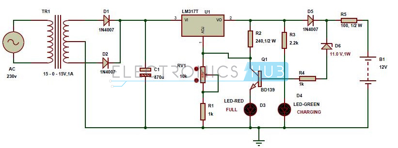 automatic 12v portable battery charger circuit using lm317 rh electronicshub org 12v battery charger circuit diagram 12v battery charger diagram