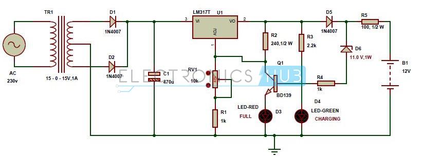 Diagrama de circuito del cargador de batería automático