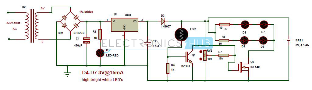 Circuit Diagram of Automatioc emergency light using white LEDs automatic led emergency light circuit diagram using ldr