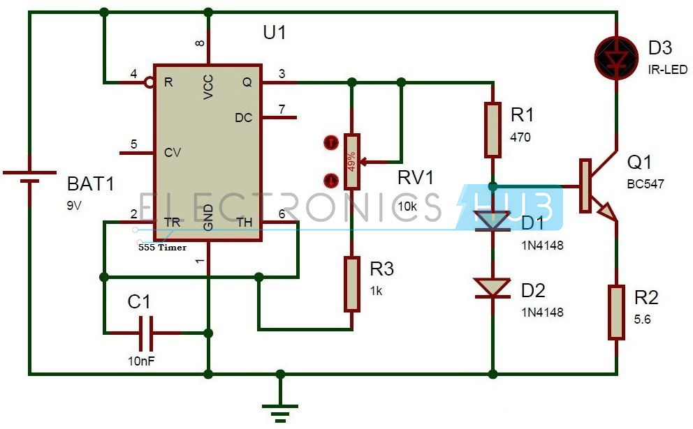 Circuit Diagram of TV Remote Jammer using 555 Timer IC