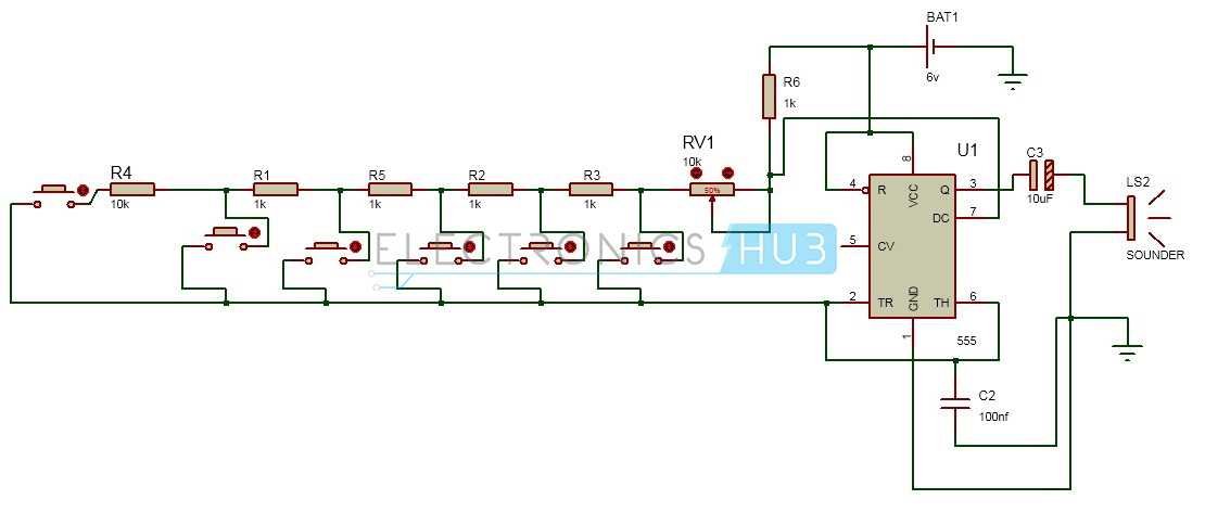 Circuit Diagram of Toy Organ electronic toy piano using 555 timer ic toy organ circuit Red Box Wiring Schematic Legend at soozxer.org