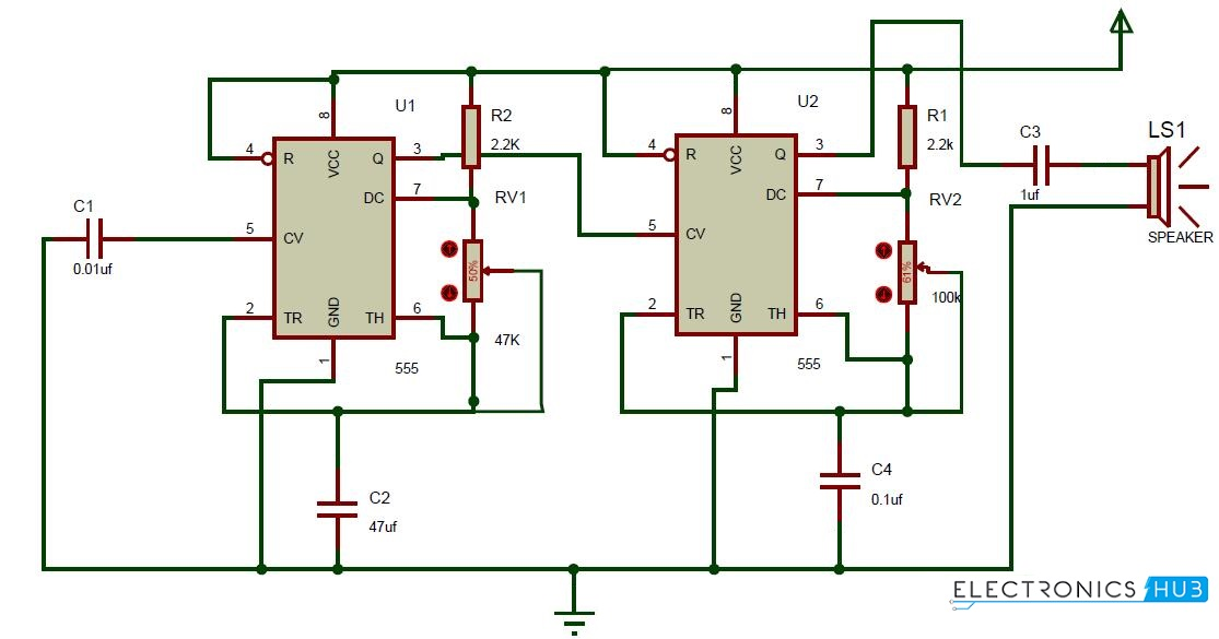 Dong sound generator door bell circuit using 555 timer ding dong sound generator circuit diagram swarovskicordoba