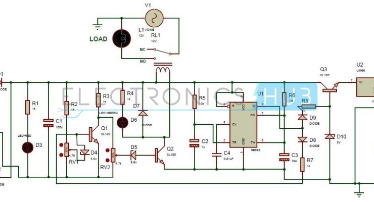 High and Low Voltage Cut-off with Delay Alarm Circuit Diagram