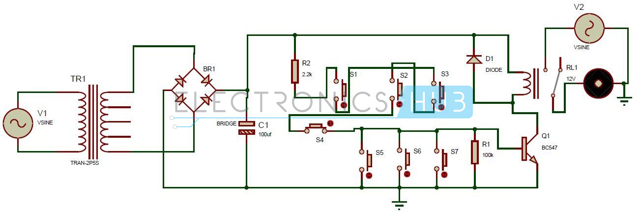 One Transistor Electronic Code Lock System Circuit Diagram
