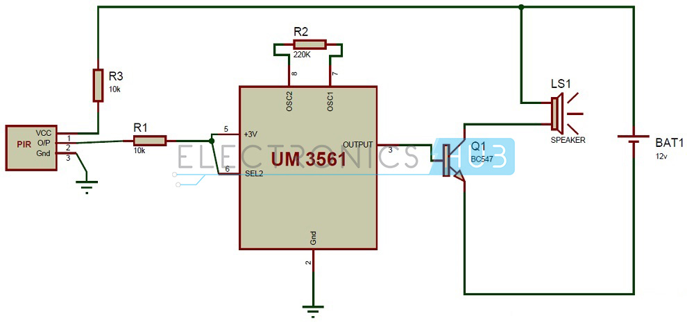 pir sensor based security alarm system using um3561 ic rh electronicshub org Radio Circuit Diagram Air Conditioning Circuit Diagram