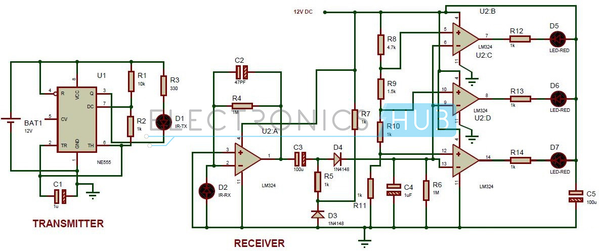 reverse parking sensor circuit for car security system rh electronicshub org Garage Door Sensor Circuit Diagram 2000 Deville Speed Sensor Wire Diagram