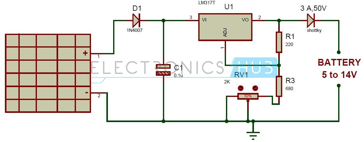 solar battery charger circuit using lm317 voltage regulator rh electronicshub org Wiring 2 6 Volt Batteries for 12 Volt Wiring Two Batteries for RV