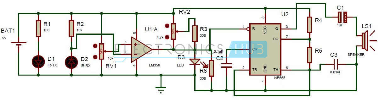 super sensitive intruder alarm circuit using ir and 555 timer