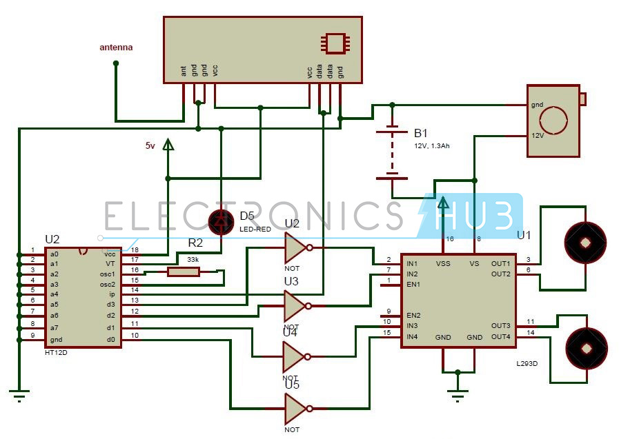 remote operated spy robot circuit rh electronicshub org Computer Circuit Diagram Computer Circuit Diagram