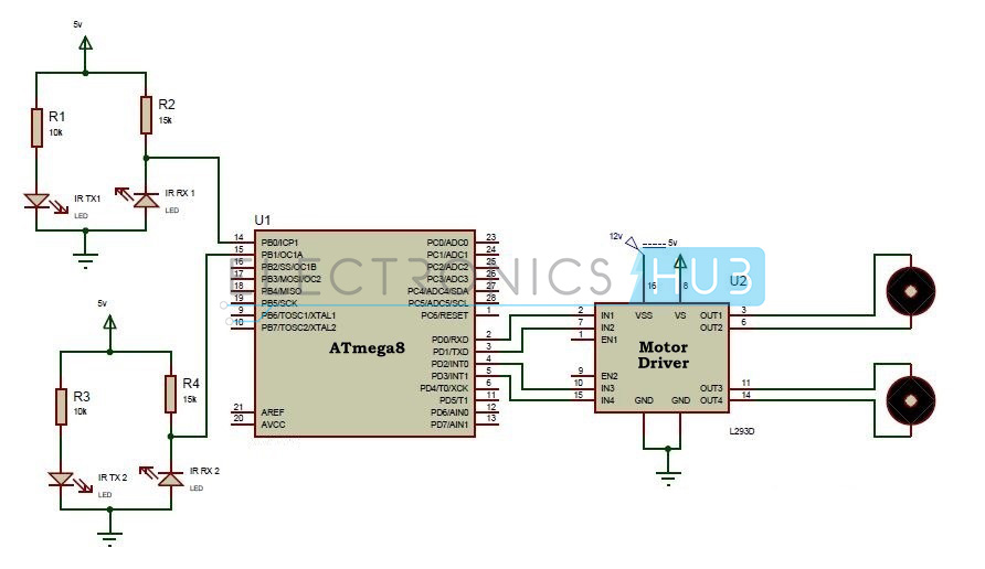 circuit diagram of line follower robotic vehicle