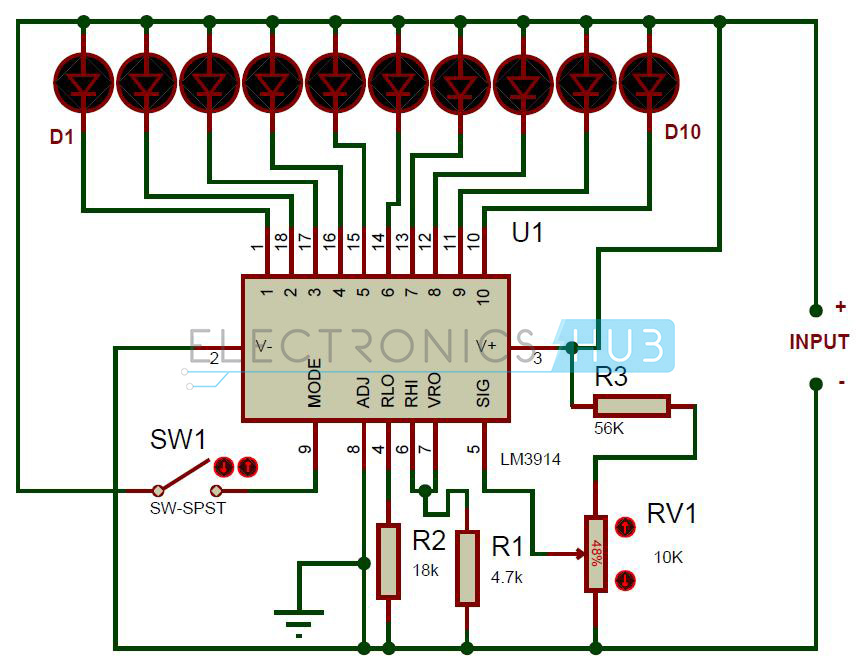 battery level indicator circuit using lm3914 rh electronicshub org