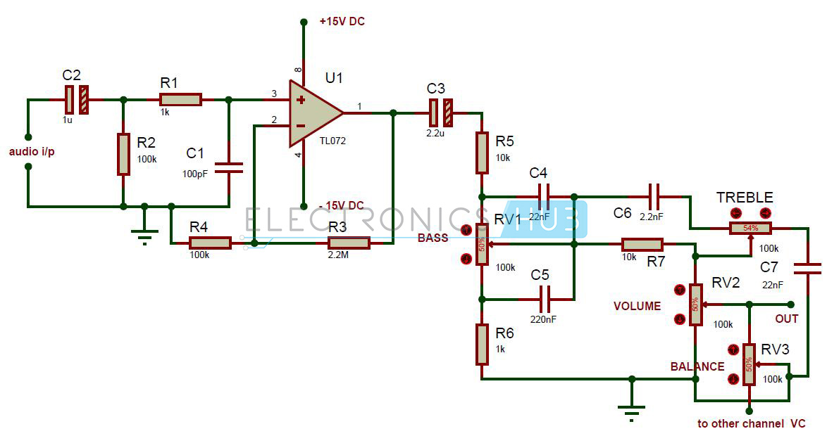 simple audio tone control circuit rh electronicshub org tda1524a tone control circuit diagram audio tone control circuit diagram