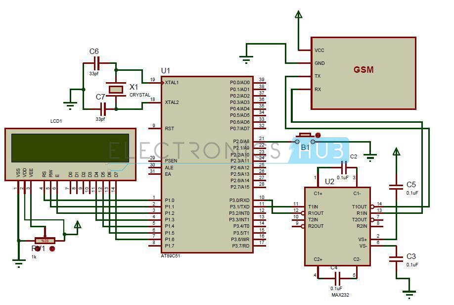 Max232 Circuit Diagram | Gsm Modem Interfacing With 8051 Microcontroller At89c51