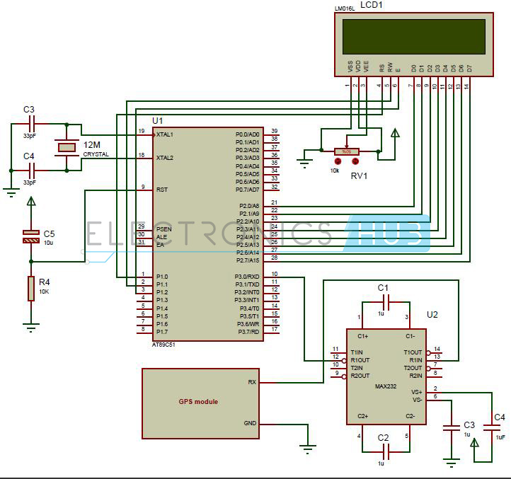 Interfacing GPS to 8051 Microcontroller Circuit Diagram