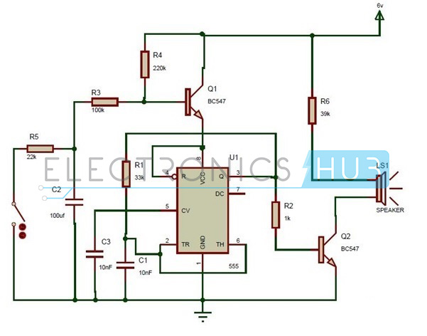 wailing siren circuit using 555 timer ic rh electronicshub org Schematic Circuit Diagram Simple Electronic Circuits