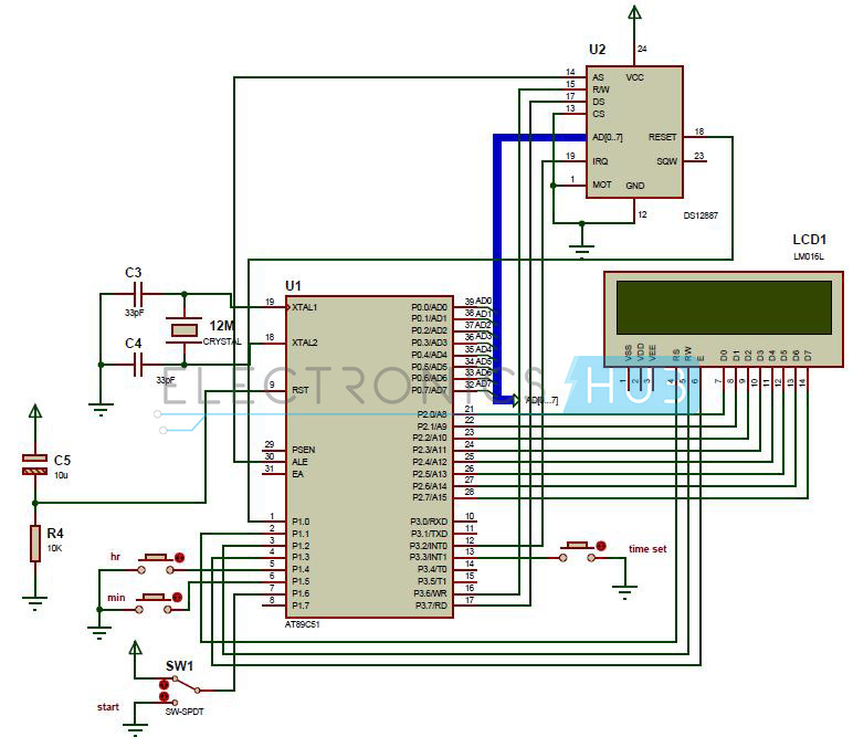 digital clock circuit using 8051 microcontroller and ds12c887circuit diagram of digital clock using 8051 microcontroller and rtc ds12c887