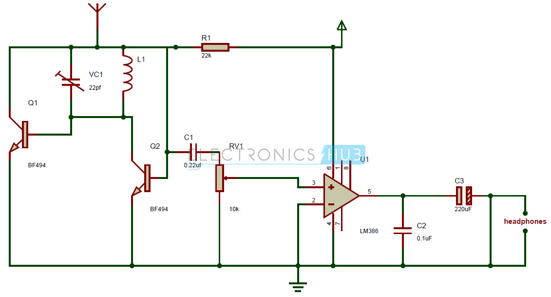 fm radio circuit tiny single chip fm radio rh electronicshub org radio receiver circuit diagram transistor radio circuit diagram