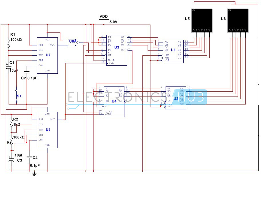 frequency counter circuit working and applications rh electronicshub org program counter circuit diagram counter circuit diagram pdf