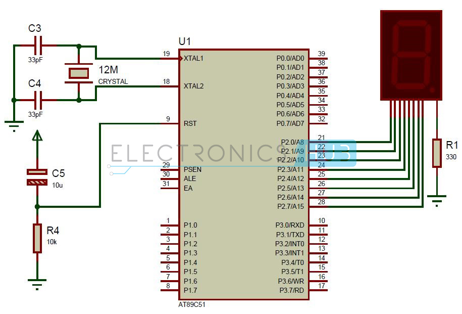 interfacing 7 seven  segment display to 8051 microcontroller