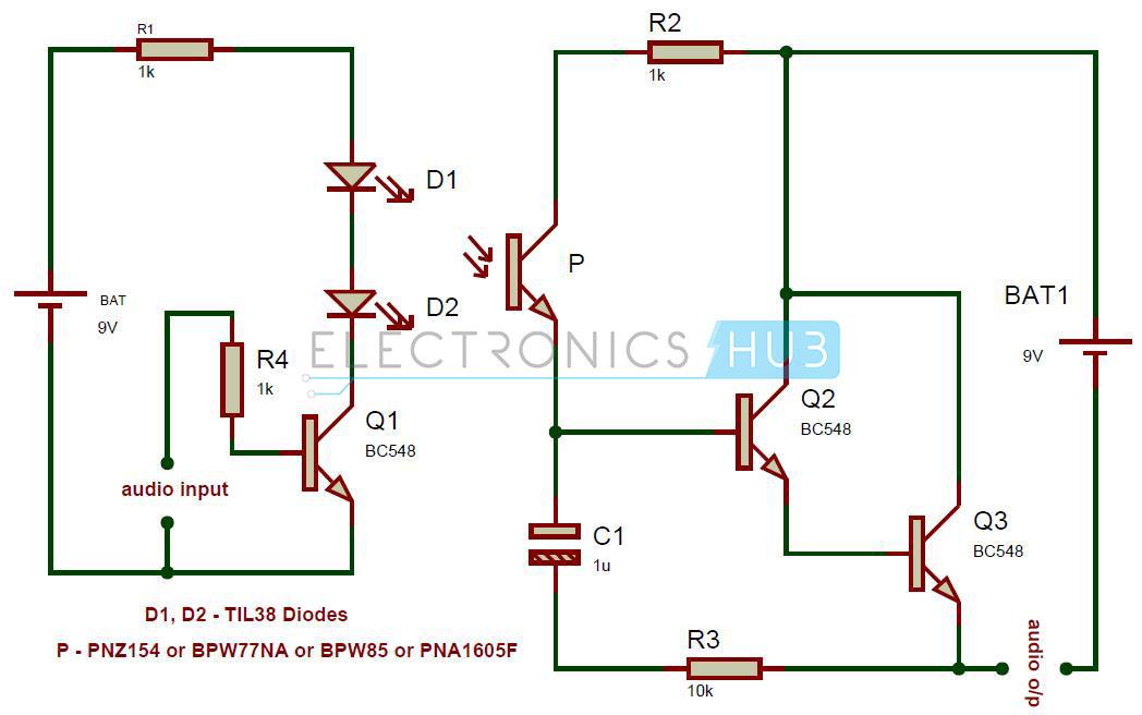 Transmisor de audio IR y diagrama de circuito del receptor