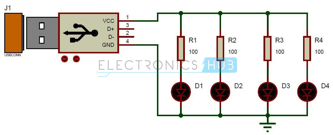 USB LED Lamp CIrcuit Diagram usb led lamp circuit 5v usb light for laptop usb connector wiring diagram at crackthecode.co