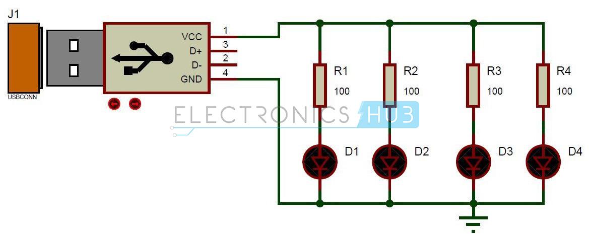 USB LED Lights Circuito Diagrama