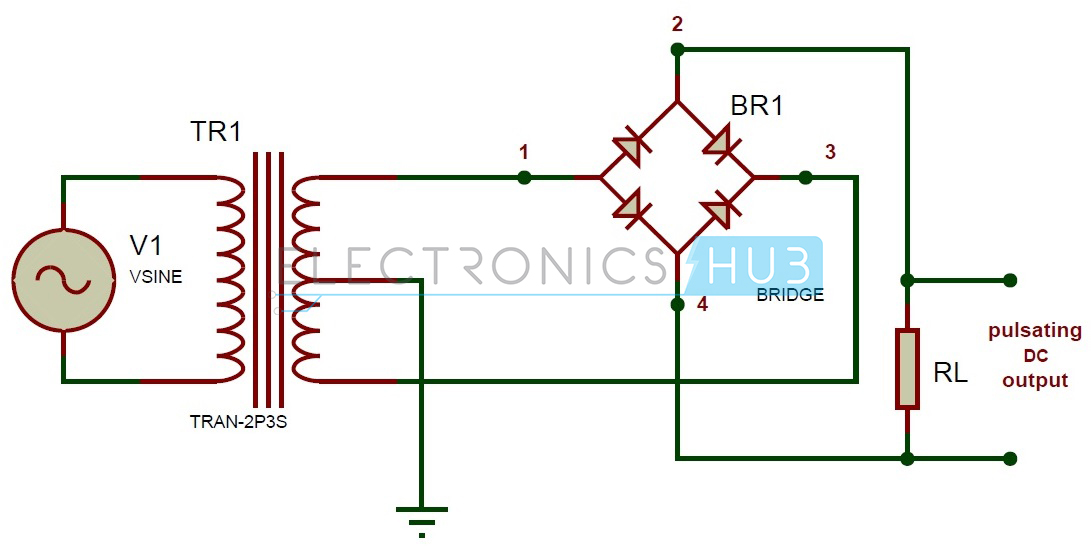 full wave bridge rectifier circuit working and applications rh electronicshub org rectifier circuit diagram datasheet bridge rectifier circuit diagrams