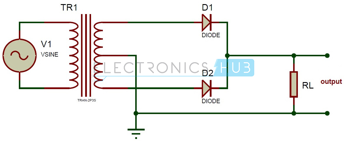 full wave rectifier theory circuit working and ripple factor rh electronicshub org circuit diagram half wave rectifier simple circuit diagram of rectifier