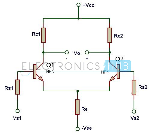 design of differential amplifier circuit using transistors rh electronicshub org circuit diagram differential amplifier using fet circuit diagram differential amplifier using fet