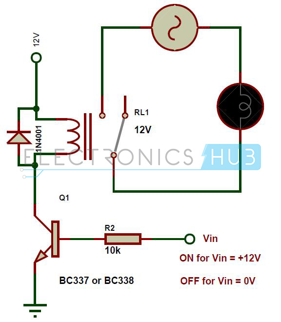 types of relays and relay driver circuit buchholz relay rh electronicshub org relay circuit diagram and operation pdf relay circuit diagram 230v