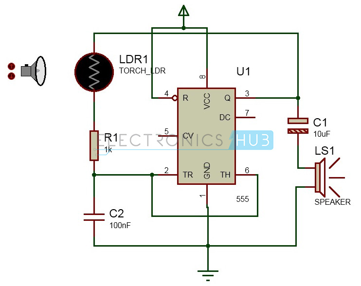 Screaming Siren Lights Circuit | Light Activated Alarm Circuit