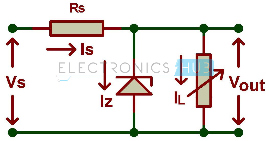 Zener Diode Shunt Regulator Circuit Diagram on Electrical Circuit Diagram Symbols