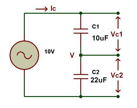 Figure: Capacitive voltage divider circuit